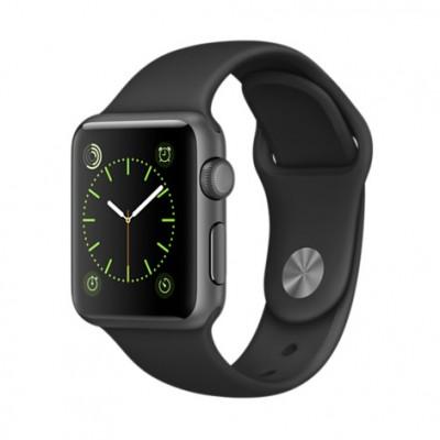 Apple Watch Sport 38 mm Aluminiumgehäuse, Space Grau, mit Sportarmband, Schwarz
