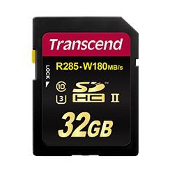 Transcend 32 GB SDXC/SDHC UHS-II U3 (R285, W180MB/s)